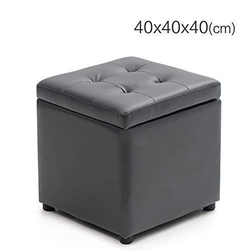 JiaQi Quadratische Fußhocker,Leder Aufbewahrungshocker,Kreativ Osmanische mit Speicher Für Erwachsene und Kinder Puffs Toilette Anti-Rutsch-N 40x40x40cm(16x16x16)