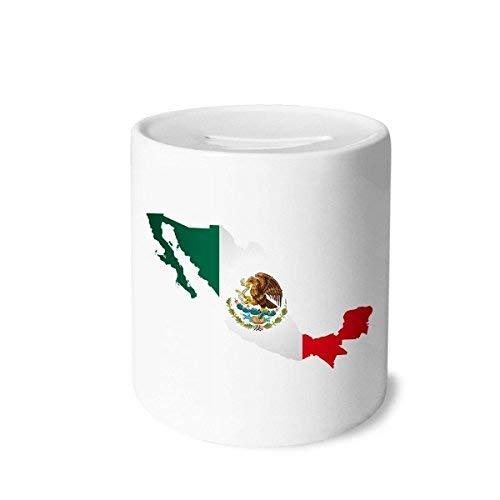 DIYthinker Rot Grün Mexiko Karte Emblem Eagle-Essen Schlangen-Geld-Kasten Sparkassen Keramik Münzfach Kinder Erwachsene 3.5 Zoll in Height, 3.1 Zoll in Duruchmesser Mehrfarbig
