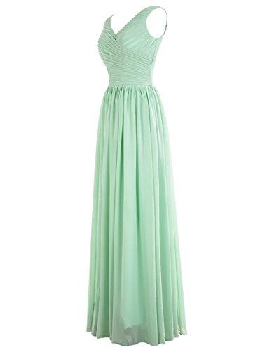Dresstells, Robe de soirée Robe de demoiselle d'honneur longueur ras du sol col en V sans manches Vert