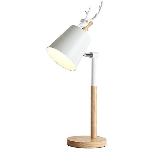 SHAOYH E27 Lámpara de mesa decorativa nórdica Madera Sala de estar Luz...