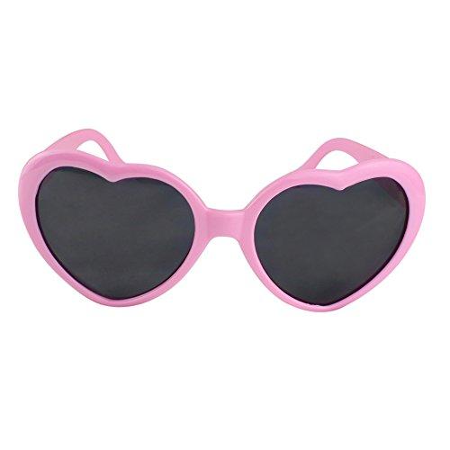 Unisex Herz Form Sonnenbrille Sonnenbrillen Sonnen Brille (Rosa)