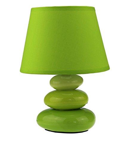 """Preisvergleich Produktbild Tischlampe """"Lina"""" / Tischleuchte / Nachttischlampe / Nachttischleuchte / Leuchte aus Keramik mit 3 Steinen (grün)"""