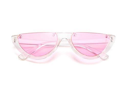 WSKPE Sonnenbrille,Cool Trendige Hälfte Frame Sonnenbrille Cat Eye Sonnenbrille Frauen Sonnenbrille Clear Frame Pink Linse