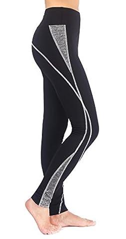 NeonysweetsFemme Legging Noir Longue Pantalon de Sport Jogging Yoga Coton Leggings (L, Noir)