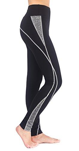 Munvot Neonlichter Sport Leggings Sporthose Fitnesshose Training Tights Sporthose für Damen, Schwarz Grau, X-Large