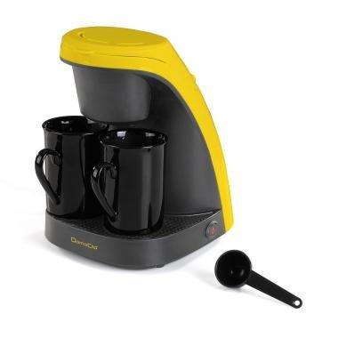 Machine à café 2 tasses bicolore jaune DOM240J