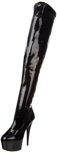 PleaserDELIGHT-3063 - Stivali classici sopra il ginocchio, non imbottiti  Donna Negro (Negro (Blk Str Pat/Blk))