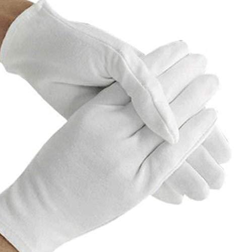 Ishua 15 Paar weiße Baumwollhandschuhe, Münze Schmuck Silber Inspektionshandschuhe Arbeitshandschuhe. Weiße Handschuhe Groß für formelle Kleidung, Arbeitshandschuhe -