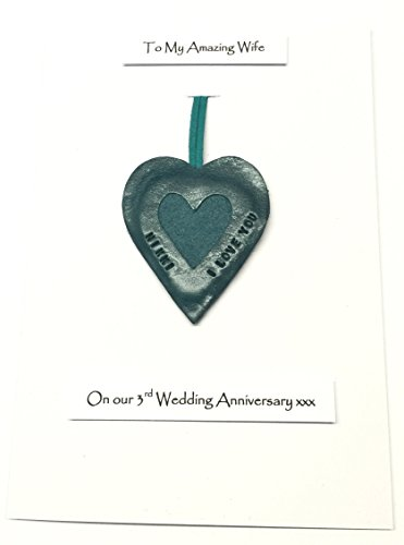 Sentimental Verse I Love You Keyring /& Fridge Magnet Present My Wife 3rd Wedding Anniversary Gift Set Card On Our Leather Anniversary 3 Years