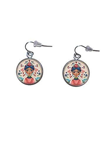 Orecchini pendenti in acciaio inossidabile, diametro 20 mm, fatto a mano, illustrazione Frida Feminist