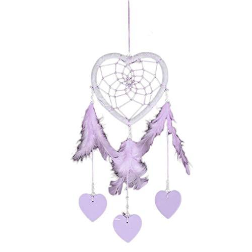 Handgefertigte Herzform Dream Catcher Schlafzimmer-Wand-Dekor-Auto hängende Dekoration Valentinstag-Geschenk Mengonee (Purple-schlafzimmer-wand-dekor)