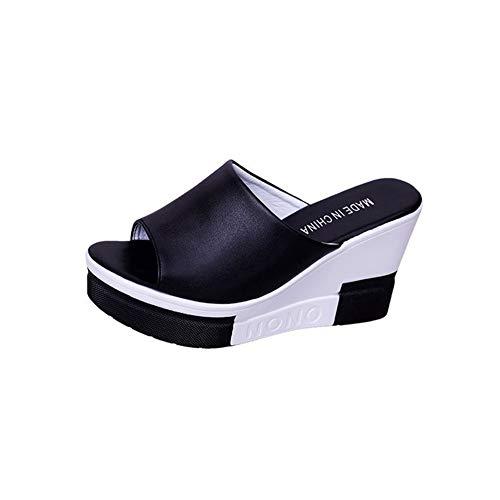NVSRZTX Sandali Donna Pantofole con Zeppa Estate Eleganti Scarpe Tacco Alto Peep-Toe Infradito Ragazze Casuale Party,Black,35