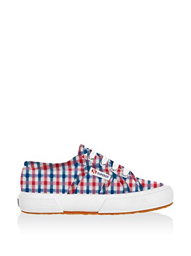 Superga 2750 Cotjshirt, Baskets Basses Mixte Enfant CHECK BLU-RED-WHITE