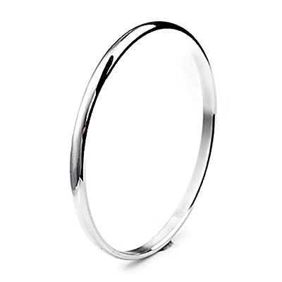 """Bystar Stainless Steel Domed Slip on Bangle Bracelet For Women Stackable 5mm Seamless 8"""" Perimeter"""