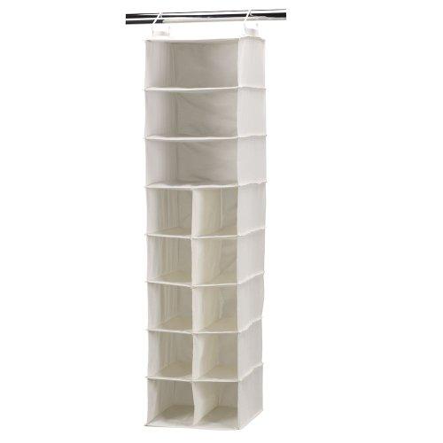 Haushalt Essentials Lagerung Organizer, canvas, weiß, 10-Pocket 3-Shelf