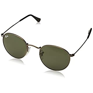 Ray-Ban Men's Round Metal Sunglasses, Matte Gunmetal (Green Crystal Lenses), 47