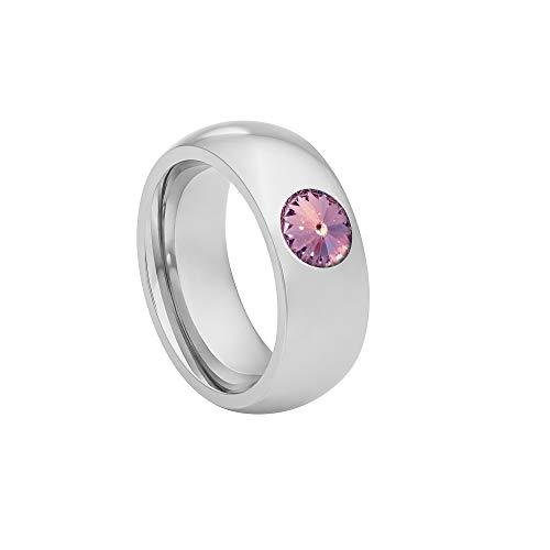 Heideman Ring Damen Coma 8 aus Edelstahl Silber farbend poliert Damenring für Frauen mit Swarovski Stein Kristall Lavendel im Fantasie Edelsteinschliff 6mm