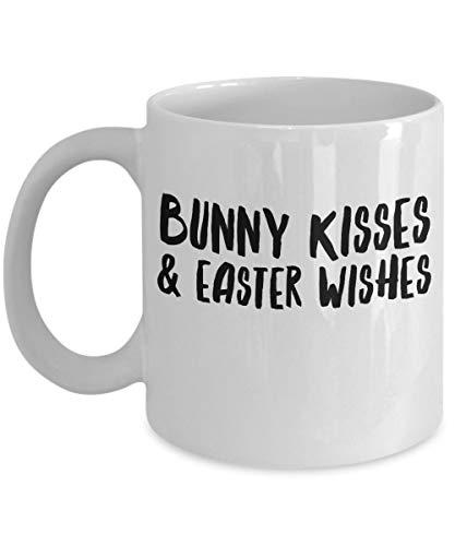 Ale haung Kühle Feiertags-Kaffeetasse & ndash; Hase KÜSSE und Osterwunsch & ndash; Einzigartiges christliches Geschenk & ndash; 443,60 ml weiße Keramikschale - Kühle Küsse