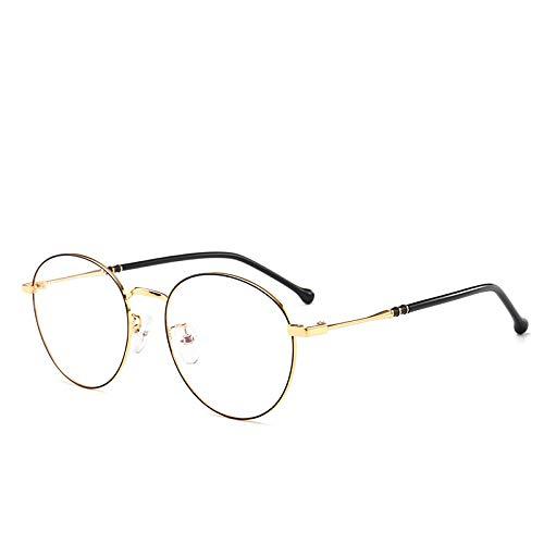Yangjing-hl Literarische Retro Metall Runde Brillengestell Männer und Frauen Flache Spiegel kleines Gesicht Brille schwarz Goldrahmen