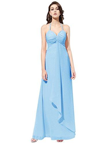 Dresstells Robe de demoiselle d'honneur Robe de cérémonie col en cœur bretelles spaghetti longueur ras du sol Bleu