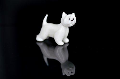 Hund Weiß - Figur aus Glas Westie - West Highland White Terrier stehend - b8-7-3 - Glasfigur Glastier Deko Vitrine weißer Rassehund (Highland Decke West)