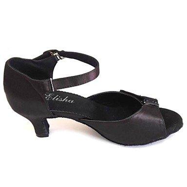 donna in pelle scamosciata con tacco alto sandali da danza latina Salsa Black