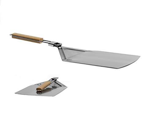 Küchenheld Pizzaschaufel Edelstahl mit Griff aus Holz - Ofenschaufel für Pizza Backen - faltbar und eckig - Brotschaufel Backofen