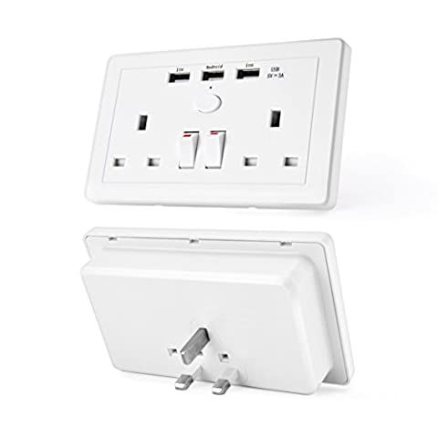 Double Sockets with USB Ports,Elinker® Fast Charger Individual Switched Sockets with UK Plug,2 gang 3 USB (3 A)
