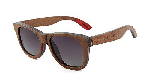 Naturjuwel Holz Sonnenbrille Herren Damenbraun polarisiert Holzbrille aus Skateboardholz im stylischen Look inklusive Brillenbeutel