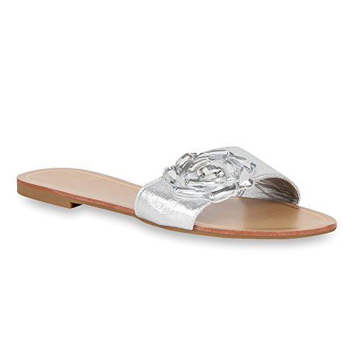 Damen Pantoletten Blumen Sandalen Strass Sommer Schuhe Silber Blume