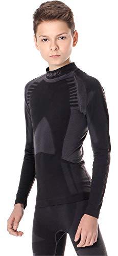 Ladeheid Kinder Mädchen Jungen Funktionsunterwäsche Langarm Shirt Thermoaktiv LASS0008 (Schwarz/Silber, 146-152)