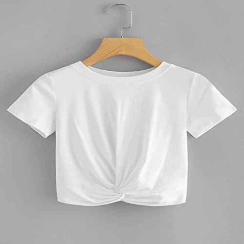 Europa und den Vereinigten Staaten Neue Frauen Explosionen einfarbig Rundhals Kurzarm lässig geknotet T-Shirt weiblich weiß M