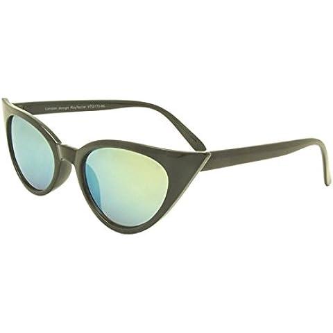 Nero Verde Lente 50Rockabilly Donna Occhio di gatto occhiali da sole stile retrò con Sharp lenti Revo