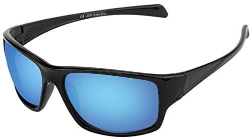 La Optica B.L.M. Sonnenbrille UV400 CAT 3 Unisex Damen Herren Leicht Sport Joggen - Einzelpack Glänzend Schwarz (Gläser: Hellblau verspiegelt)