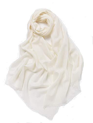 Prettystern - xl 100% lana tinta unita fili sottili filato 80 monocolore pashmina stola sciarpa - avorio