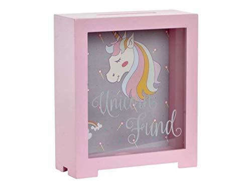 Catay Home Hucha Infantil Unicornio Fantasia Madera y Cristal Color Rosa o...
