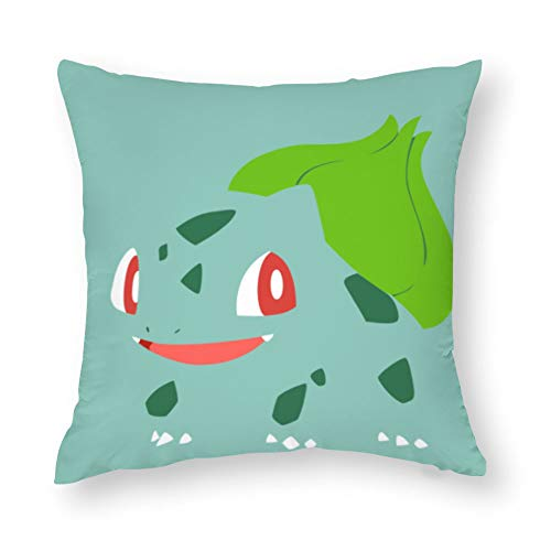 TANGGOOD Tanghood Dekoratives quadratisches Kissen aus Baumwolle, handgefertigt, für Stühle, Bulbasaur Pokemon Zeichnen Minimalismus, 45,7 x 45,7 cm