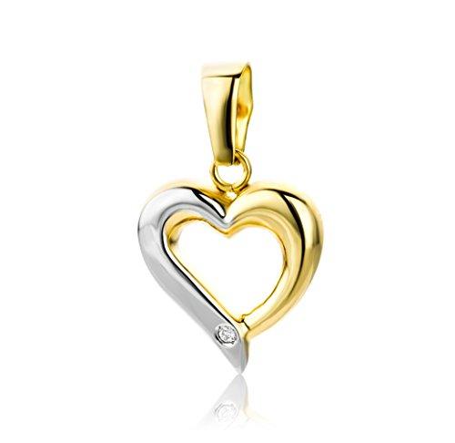 Miore Anhänger  mit Herz  Bicolor Gelbgold / Weißgold 18 Karat / 750 Gold  Diamant Brilliant