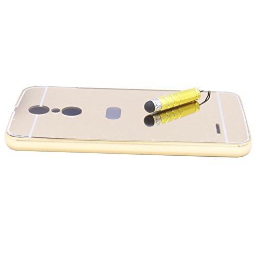 Funda Espejo Aluminio Metal Carcasa para LG K10 2017 Color Oro