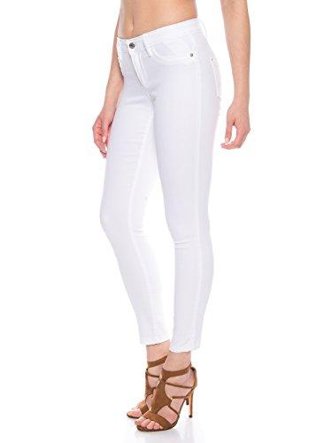 ONLY Damen Skinny Jeans Hose mit Stretch in weiß Regulare Leibhöhe, Farbe:Weiß, Weite/Länge:L/30 -