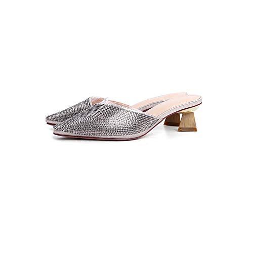 1290 Tinte (Spitz Dick Mit Halben Pantoffeln Weiblicher Sommer Mit Heißem Bohren Draußen Tragen Sandalen Wild No Heel Lazy Shoes (Color : Gold, Size : 34))
