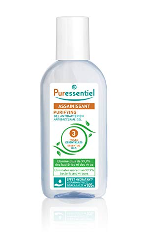 Puressentiel Antibacterial Gel 80 ml - Anti-bacterial, anti-viral, softening - 99.9% viruses and bacteria destroyed - Anti-drying aloe vera, bioalcohol, essential oils of tea tree, lemon, lavandin