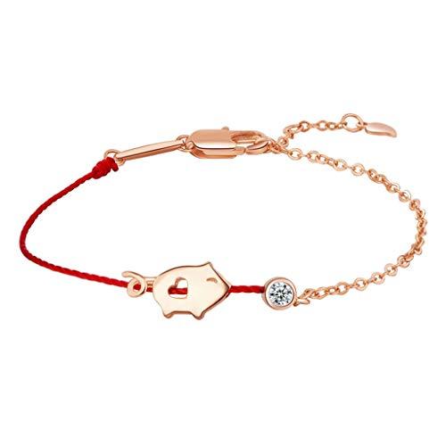 YISU neues chinesisches Tierkreis-Jahr des Schweins, glückliches Schwein-rotes Seil gesponnenes Armband