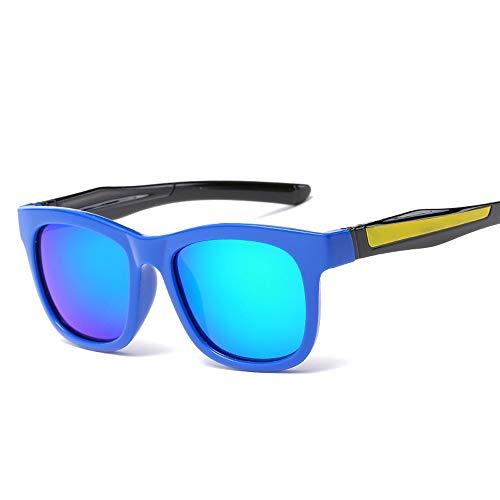 Gläser Mode Sonnenbrillen für Kinder Flexibler Gummi polarisierte Linsen für Kinder Kleinkinder Jungen und Mädchen Farbfilm (Color : 01Blue, Size : Kostenlos)