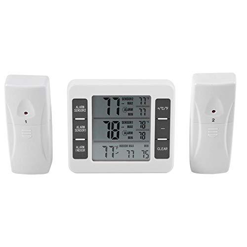 Asixx Kühlschrank Thermometer, Digitale Kühl-Gefrierschrank-Thermometer mit Haken Gut Lesbarem LCD-Anzeige Lesen Max/Min Funktion für Zuhause, Restaurants, Bars