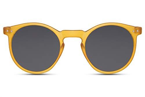 Cheapass Rund-e Sonnenbrille Gelb Matt Dunkle Gläser UV-400 Festival-Brille Plastik Unisex