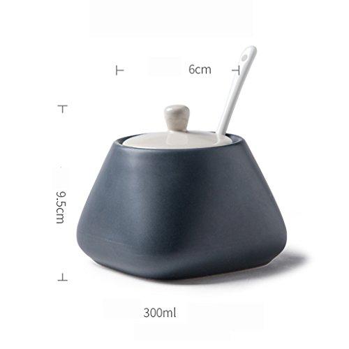 GARDEN condimento bottiglie Utensili da cucina in ceramica con il coperchio Cucchiaio Condimento Jar Stagionatura Serbatoio condimento di sale Bottiglia Reserve Box Casa (singolo) ( colore : Nero )