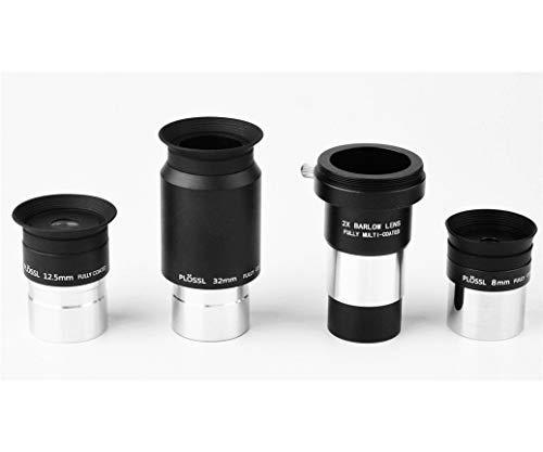 Okular-Set mit Teleskop-Okularen, 8 mm, 12,5 mm, 32 mm Plossl-Okularen und 2 x mehrschichtvergütete Barlowlinsen-Teleskop-Zubehör-Set