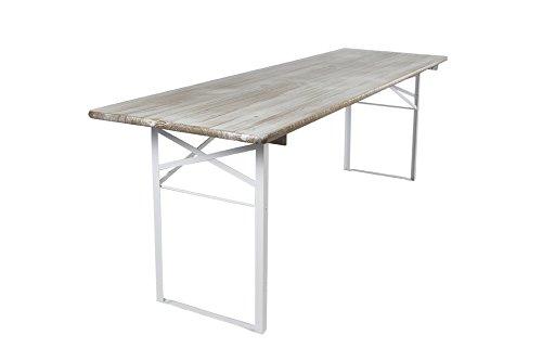 Klappbarer Picknicktisch, Biertisch, Scandinavian whitewash, 200 x 70 cm FSC Gütezeichen
