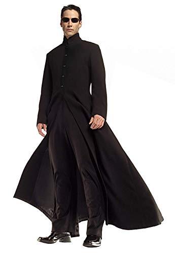 Lovelegis (Größe S) Neo Matrix Kostüm Jacke und Hose - Carnival Disguise Halloween Cosplay Man Farbe Schwarz (Matrix Neo Kostüm)